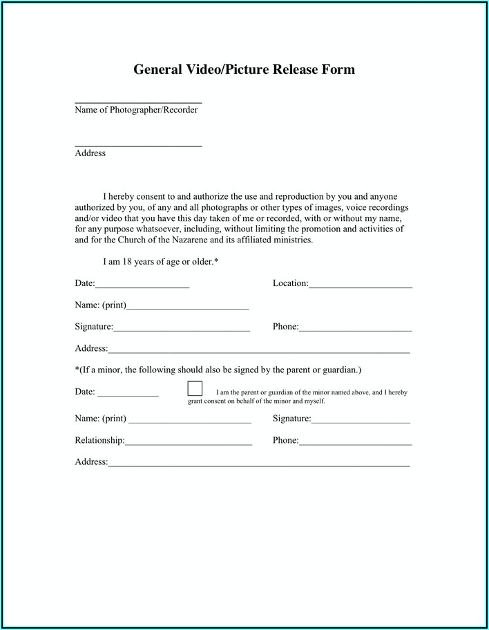 Photo Release Form For Minors Church
