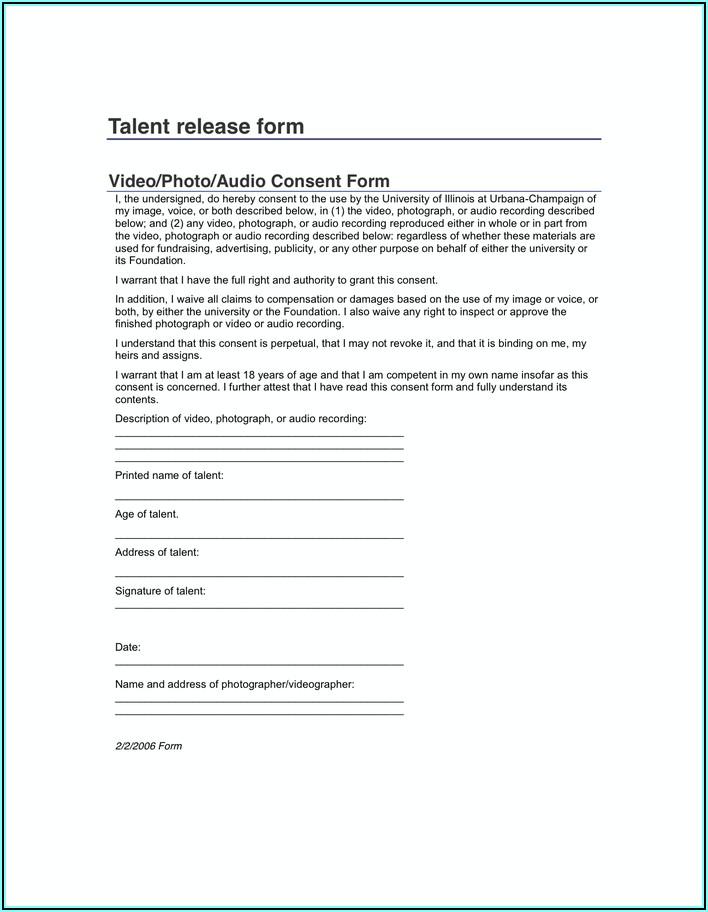 Photographer Model Release Form Pdf