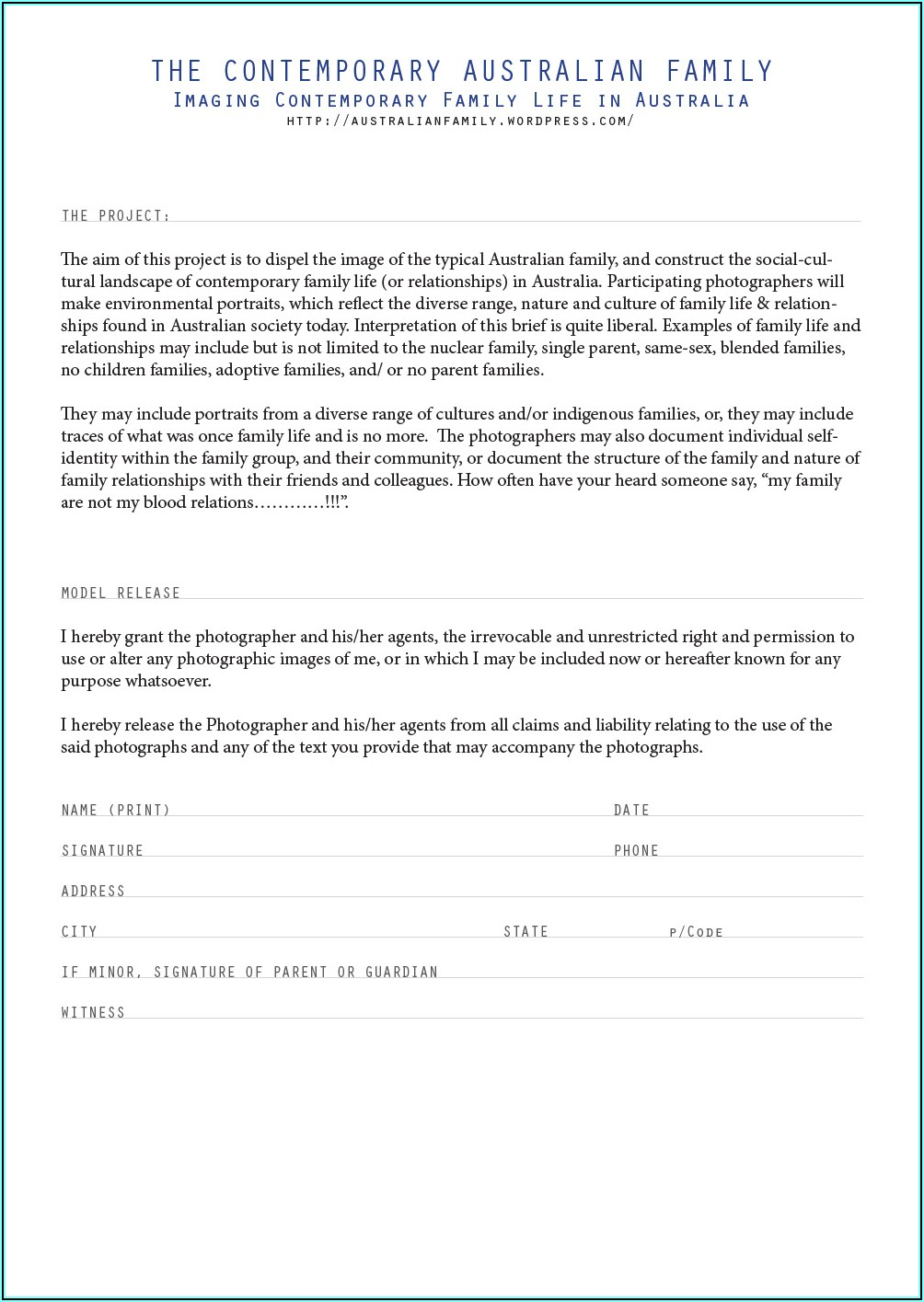 Photographer Model Release Form