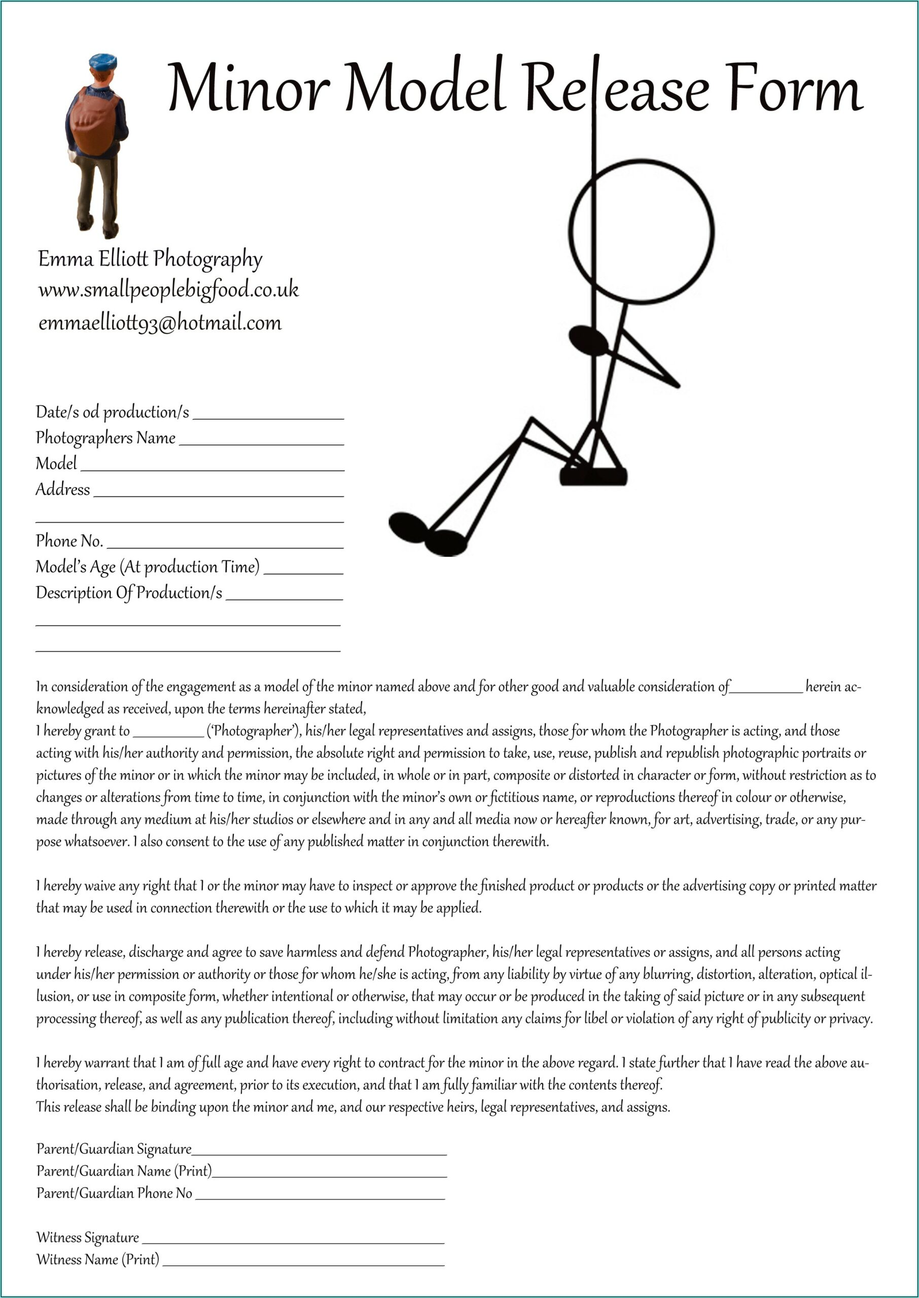 Photography Model Release Form For Minors