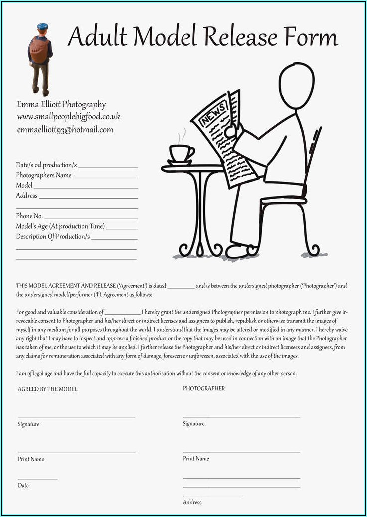 Photography Model Release Form Template Uk