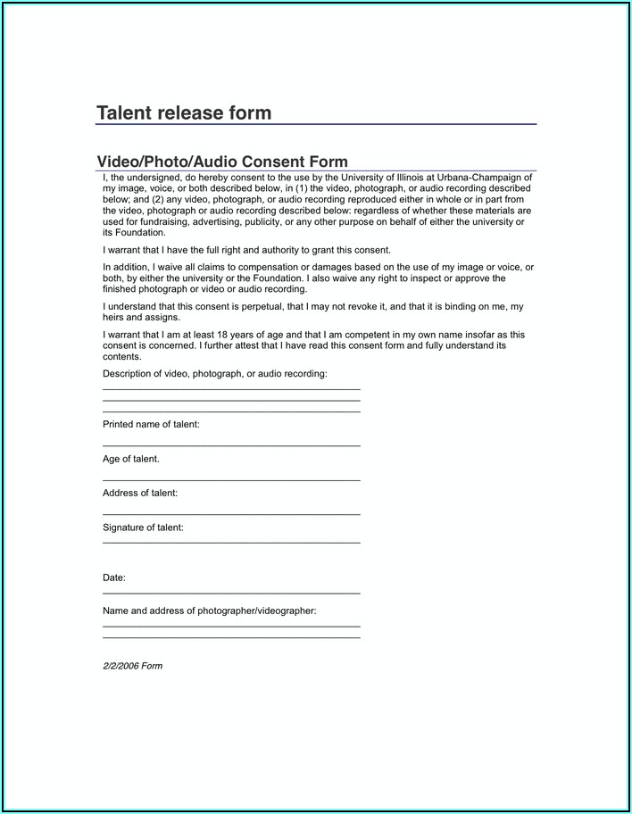 Photography Release Form For Minors