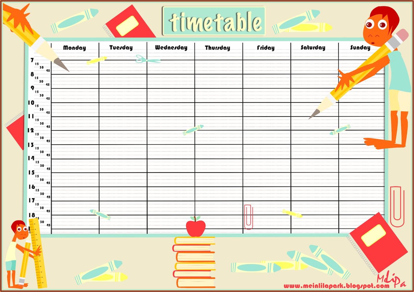 Printable Editable School Timetable Template