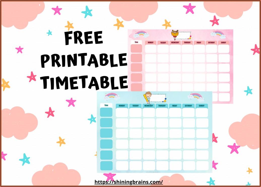 Printable Editable Timetable Template