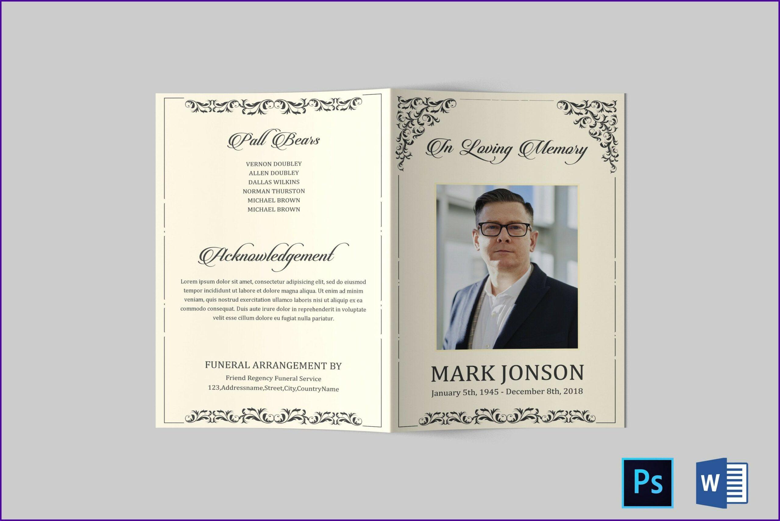 Printable Funeral Program Template Word