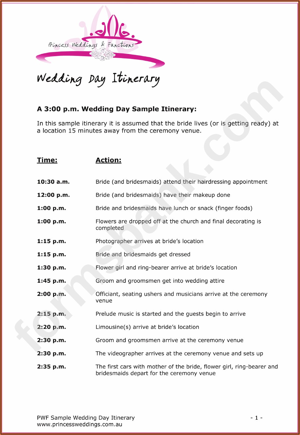 Printable Wedding Day Timeline Template Pdf