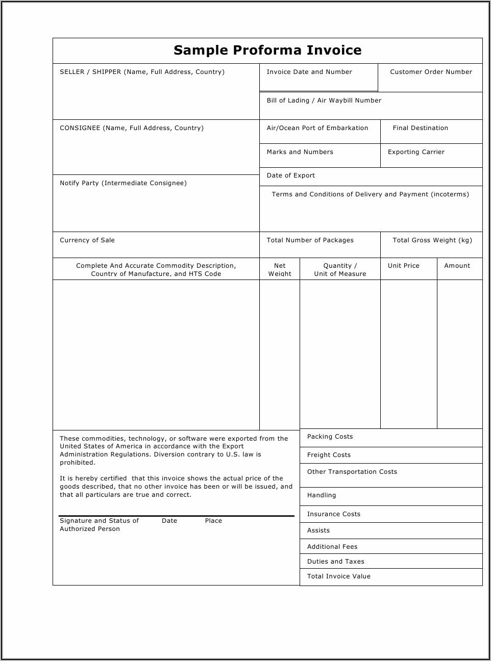 Proforma Invoice Sample Pdf