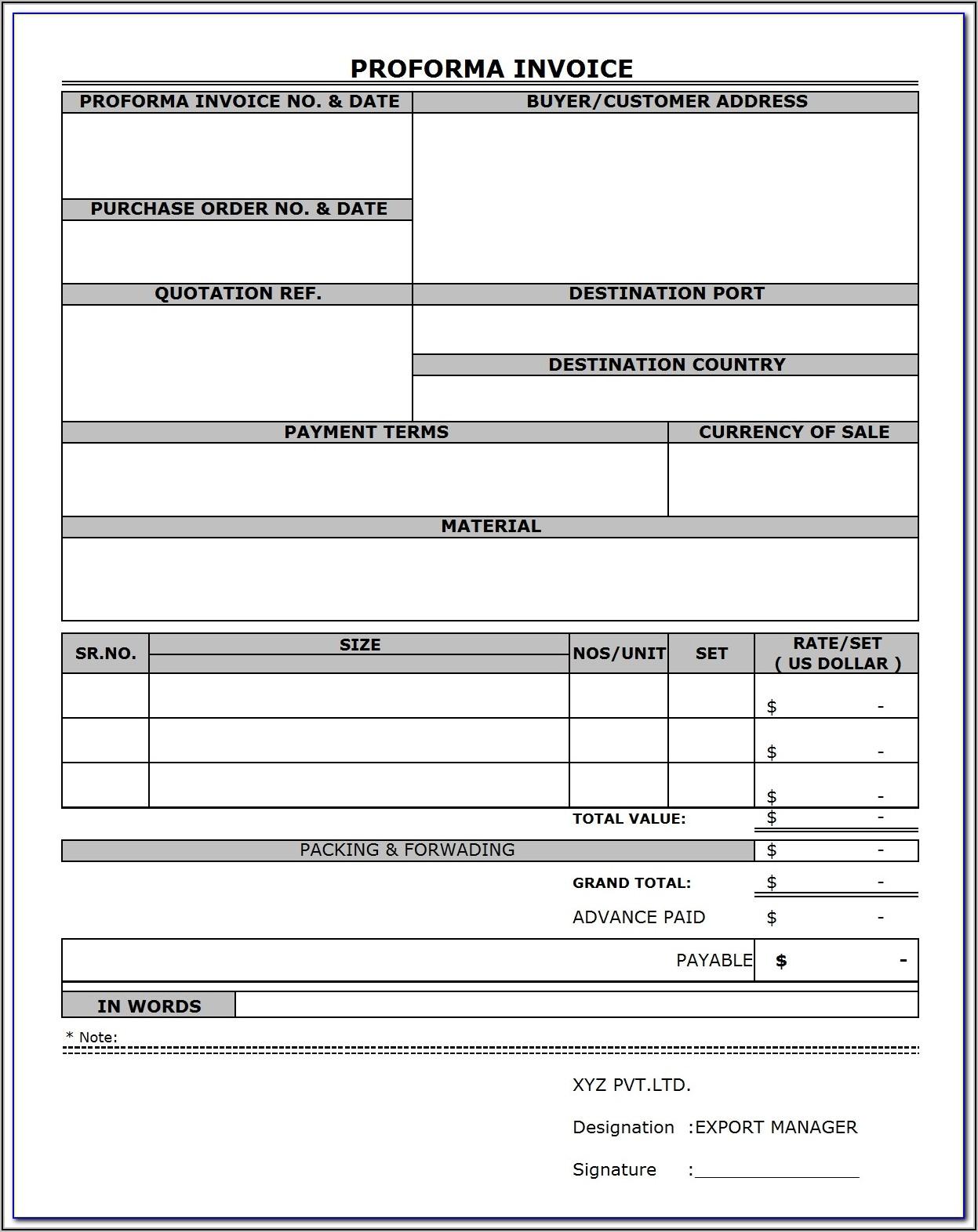 Proforma Invoice Samples Pdf