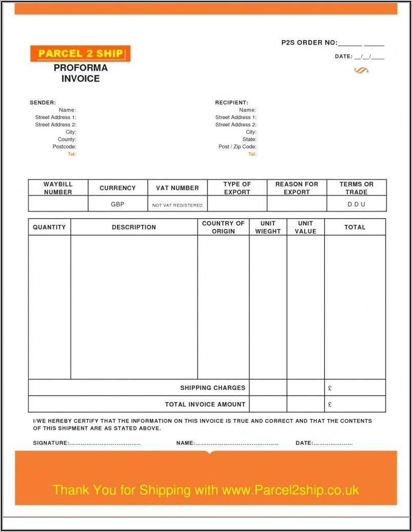 Proforma Invoice Template Pdf Download