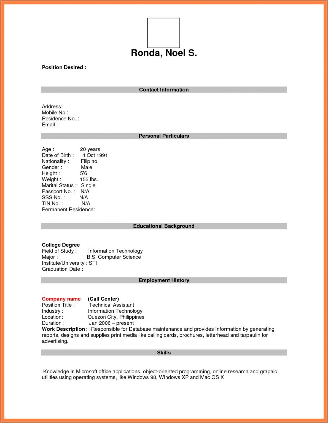 Resume Word Document Free Download