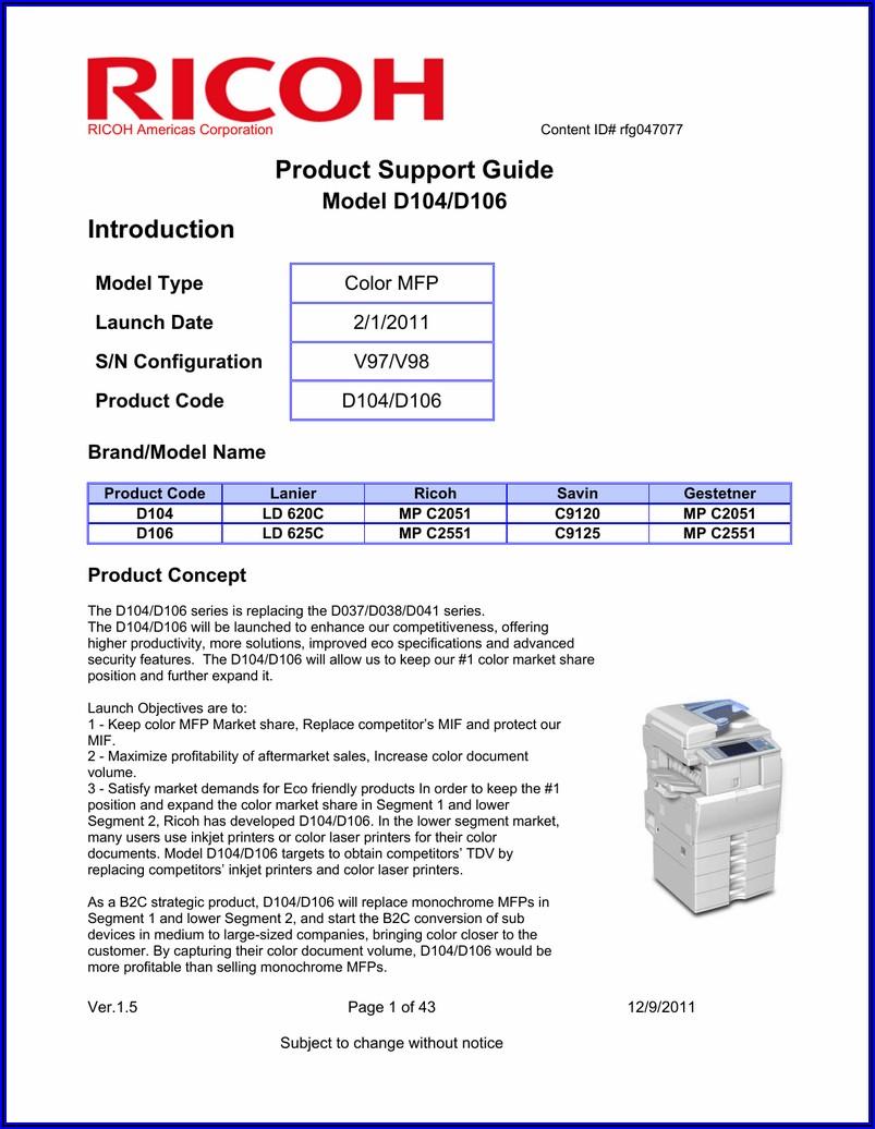 Ricoh Mp C2051 Service Manual