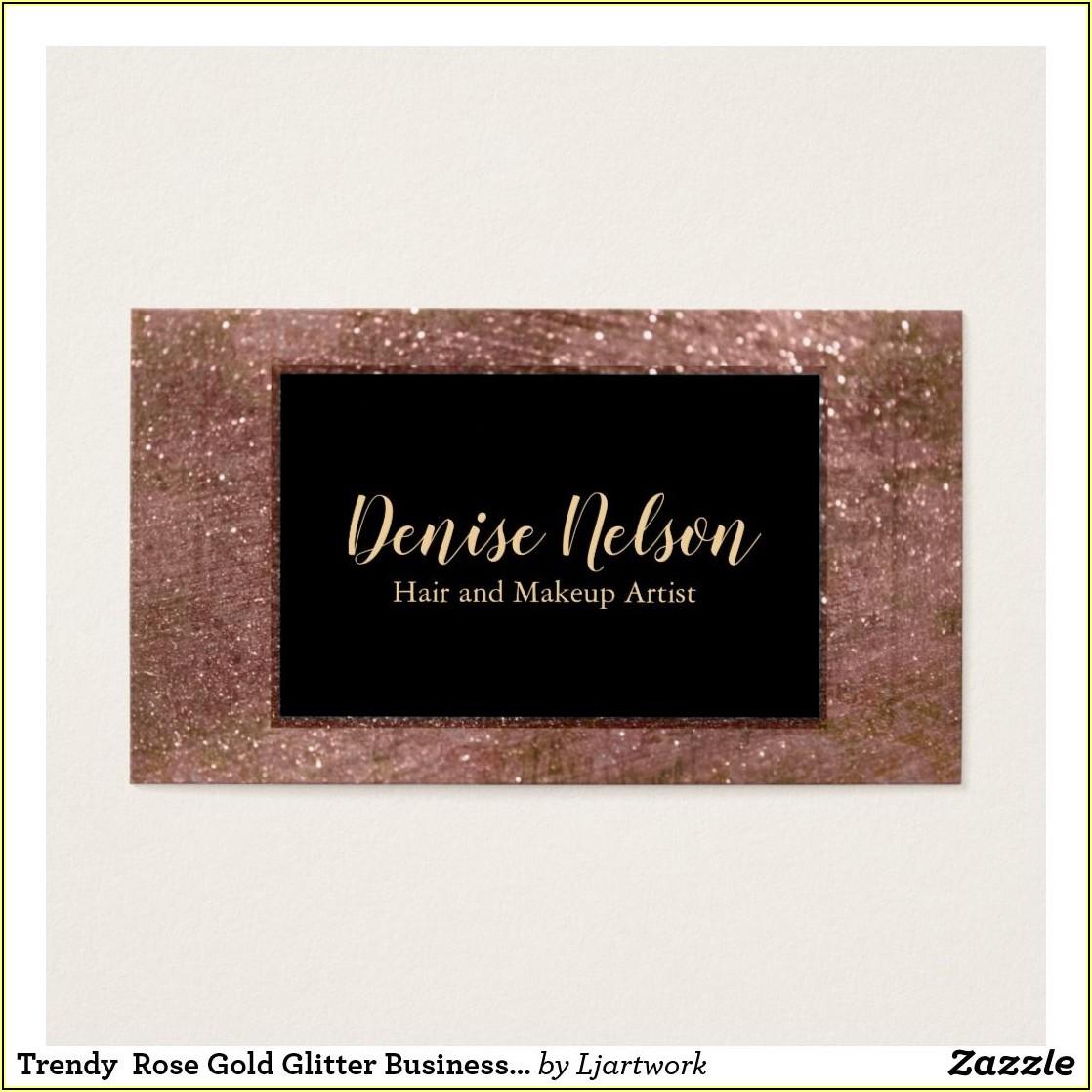 Rose Gold Glitter Business Cards