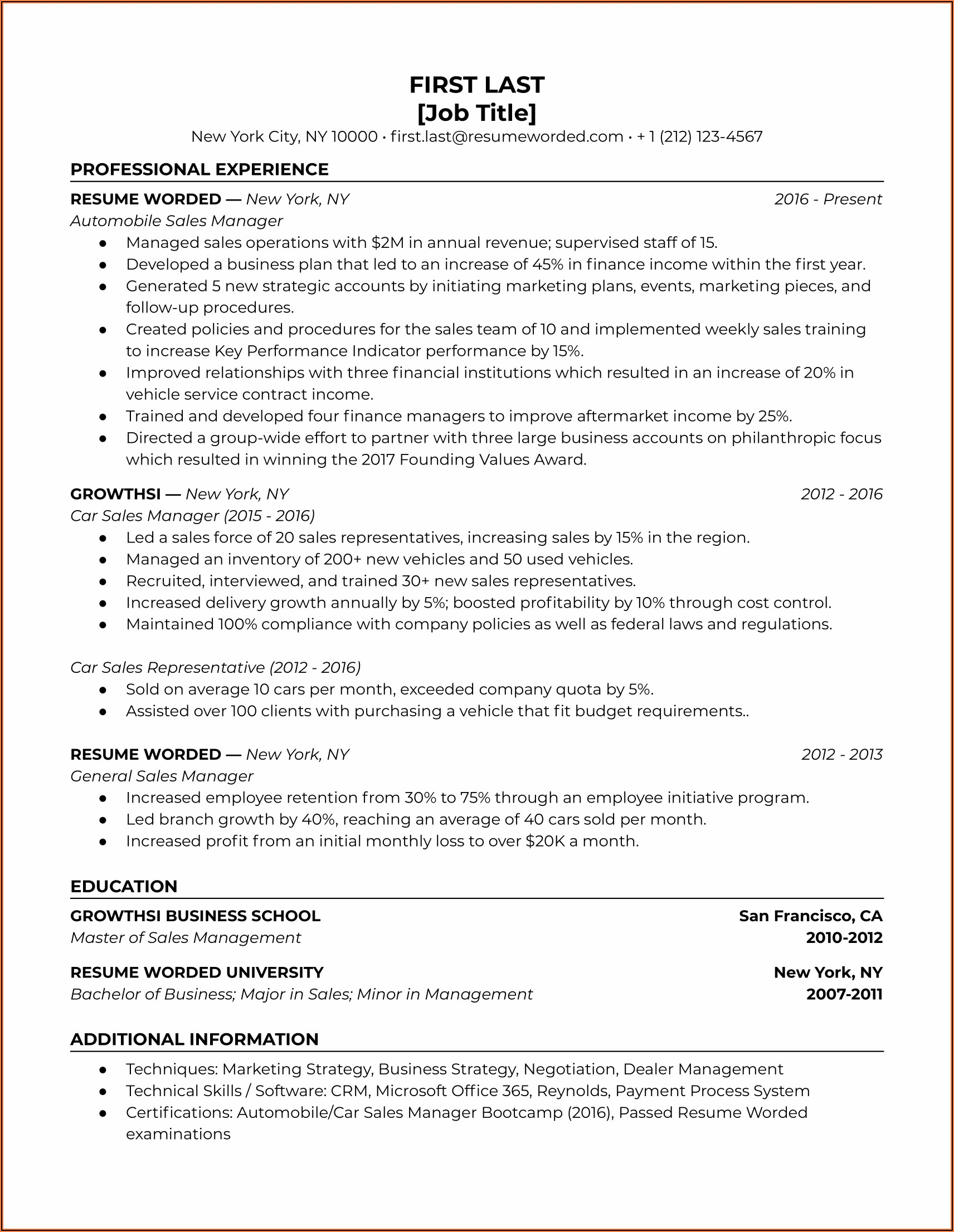 Sales Manager Cv Word Format India