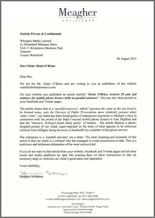 Sample Cease And Desist Letter Confidential Information