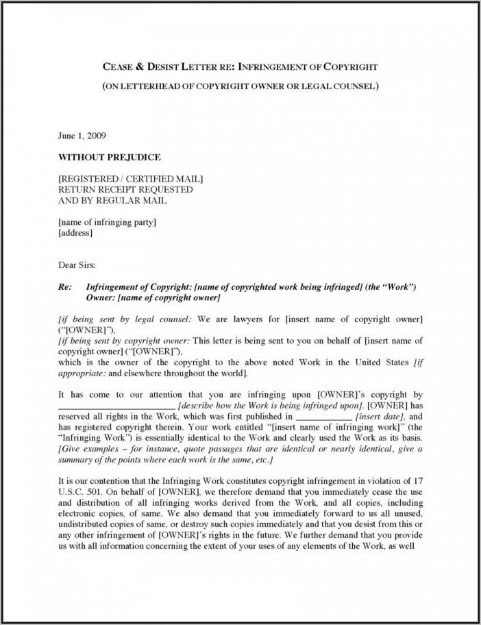 Sample Cease And Desist Letter Copyright Infringement