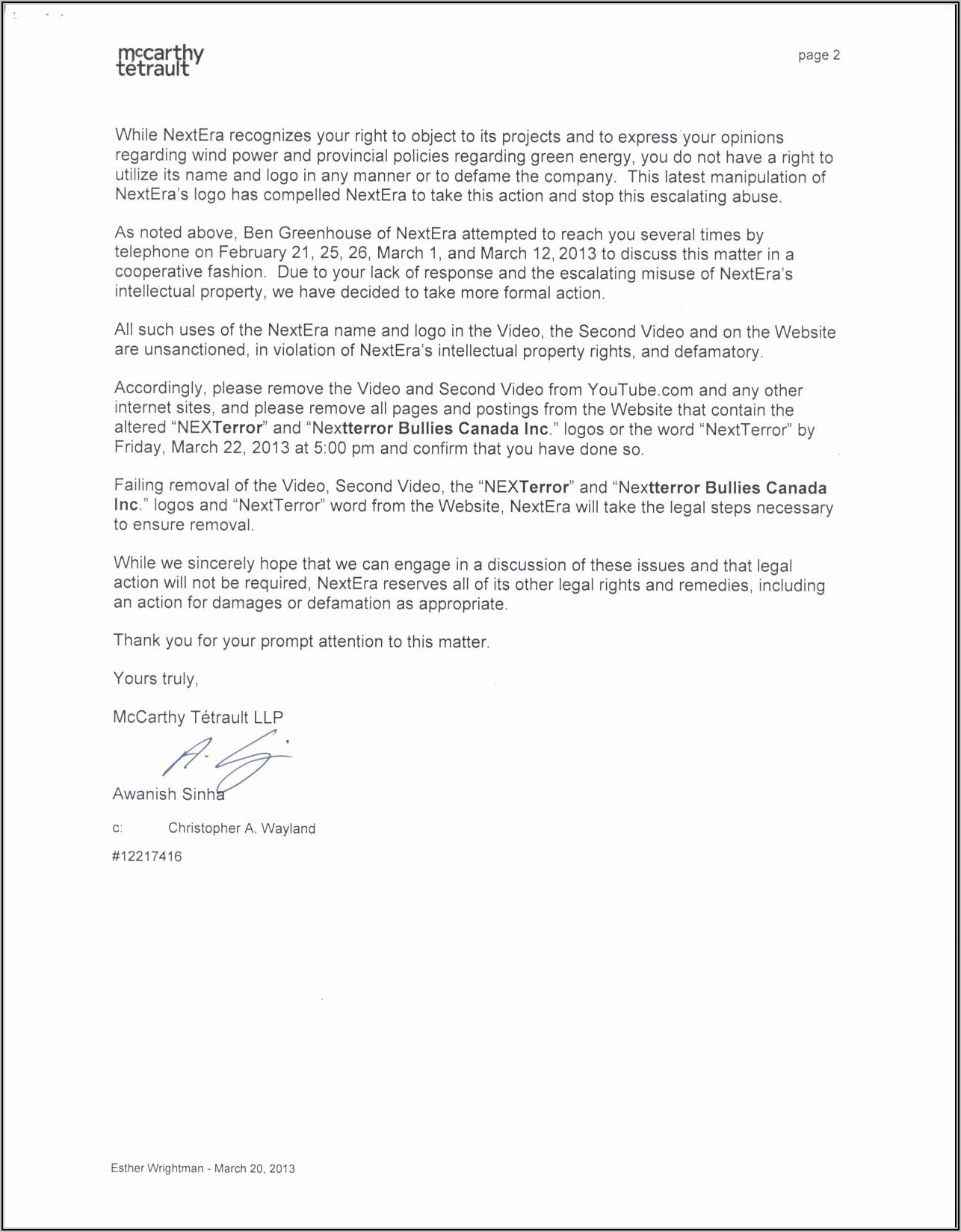 Sample Cease And Desist Letter Defamation Canada