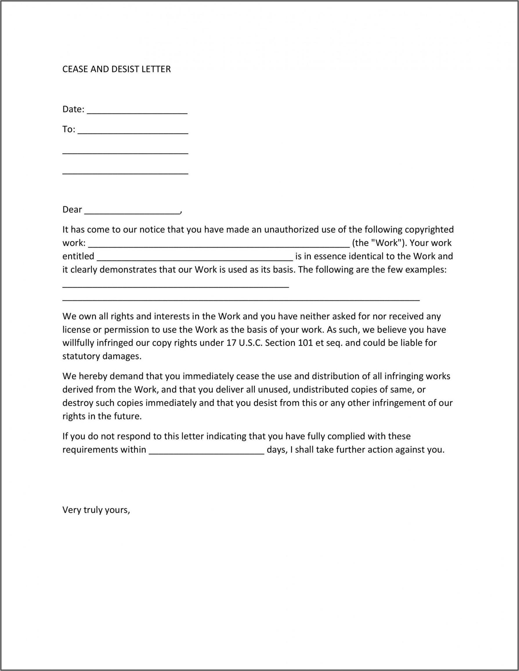 Sample Cease And Desist Letter Harassment