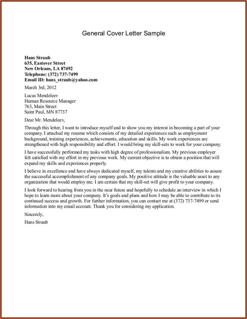 Sample Cover Letter For Job Application General