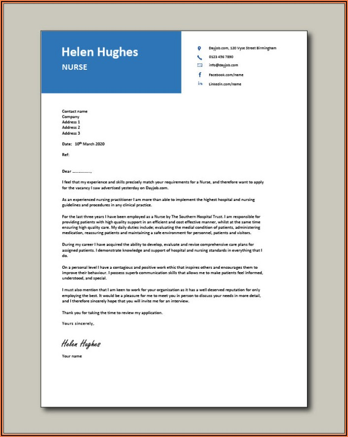 Sample Cover Letter For Nurse Practitioner Job