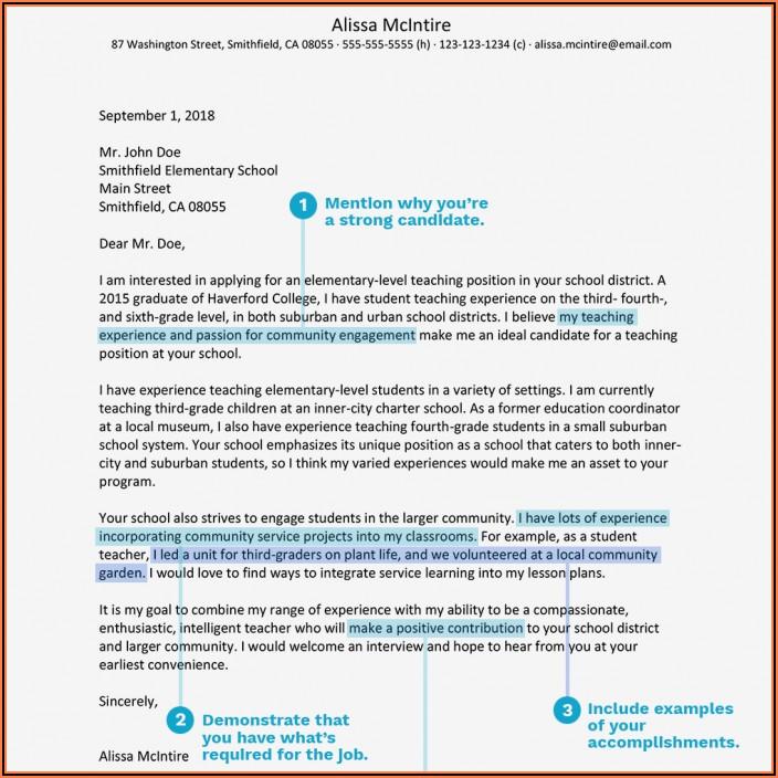 Sample Cover Letter For Resume Education