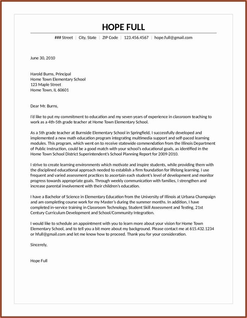 Sample Cover Letter For Resume Teacher