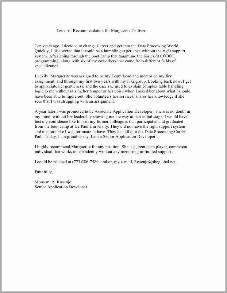 Sample Letter Of Recommendation For Coworker Social Worker