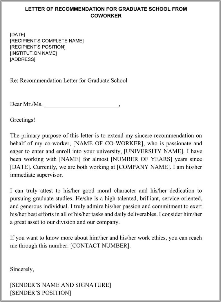 Sample Letter Of Recommendation For Coworker