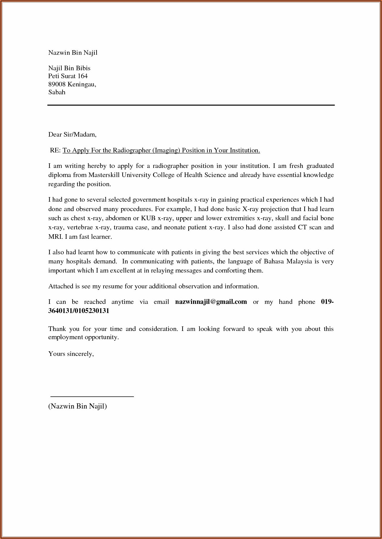 Cover Letter For Resume Malaysia Example Cover Letter Resume Cover Letter Examples
