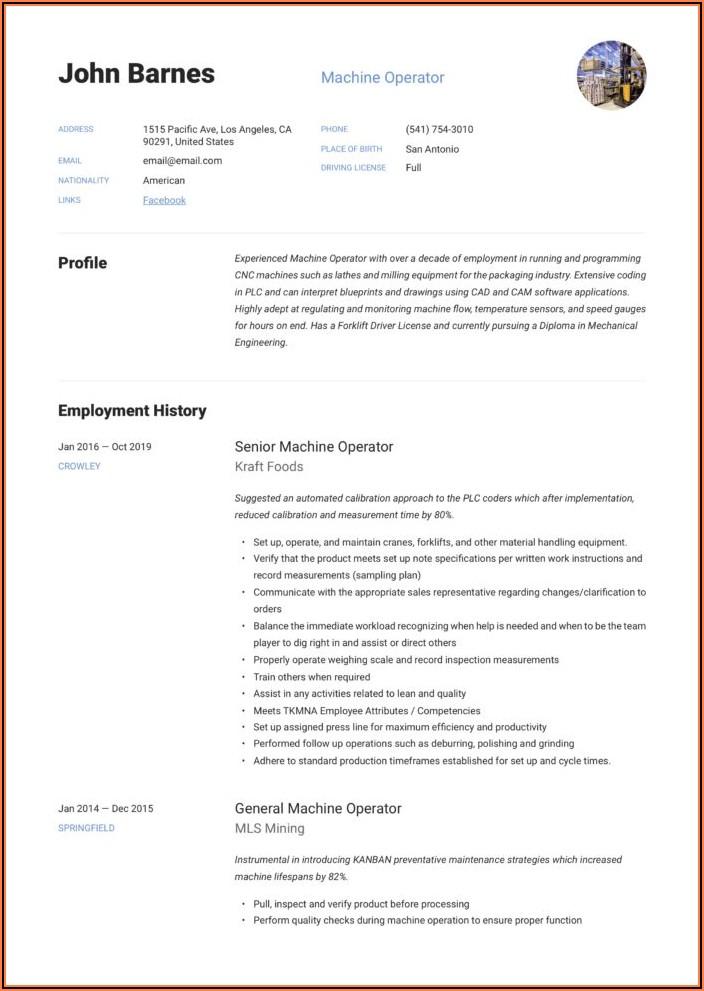 Sample Resume For Cnc Machine Operator