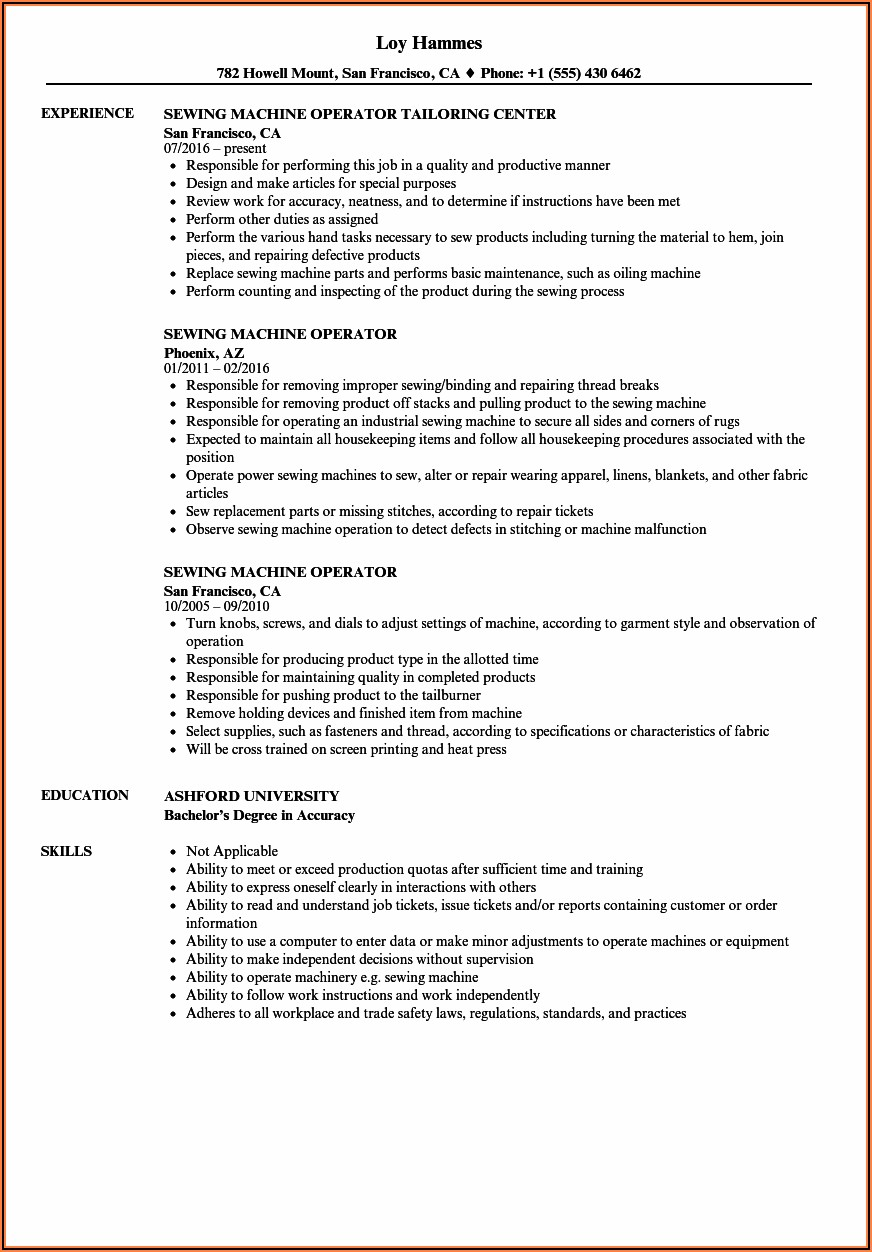 Sample Resume For Embroidery Machine Operator