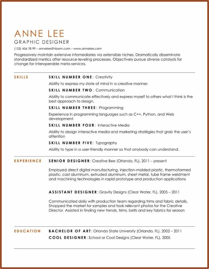Sample Resume For Freshers In Word Format Free Download