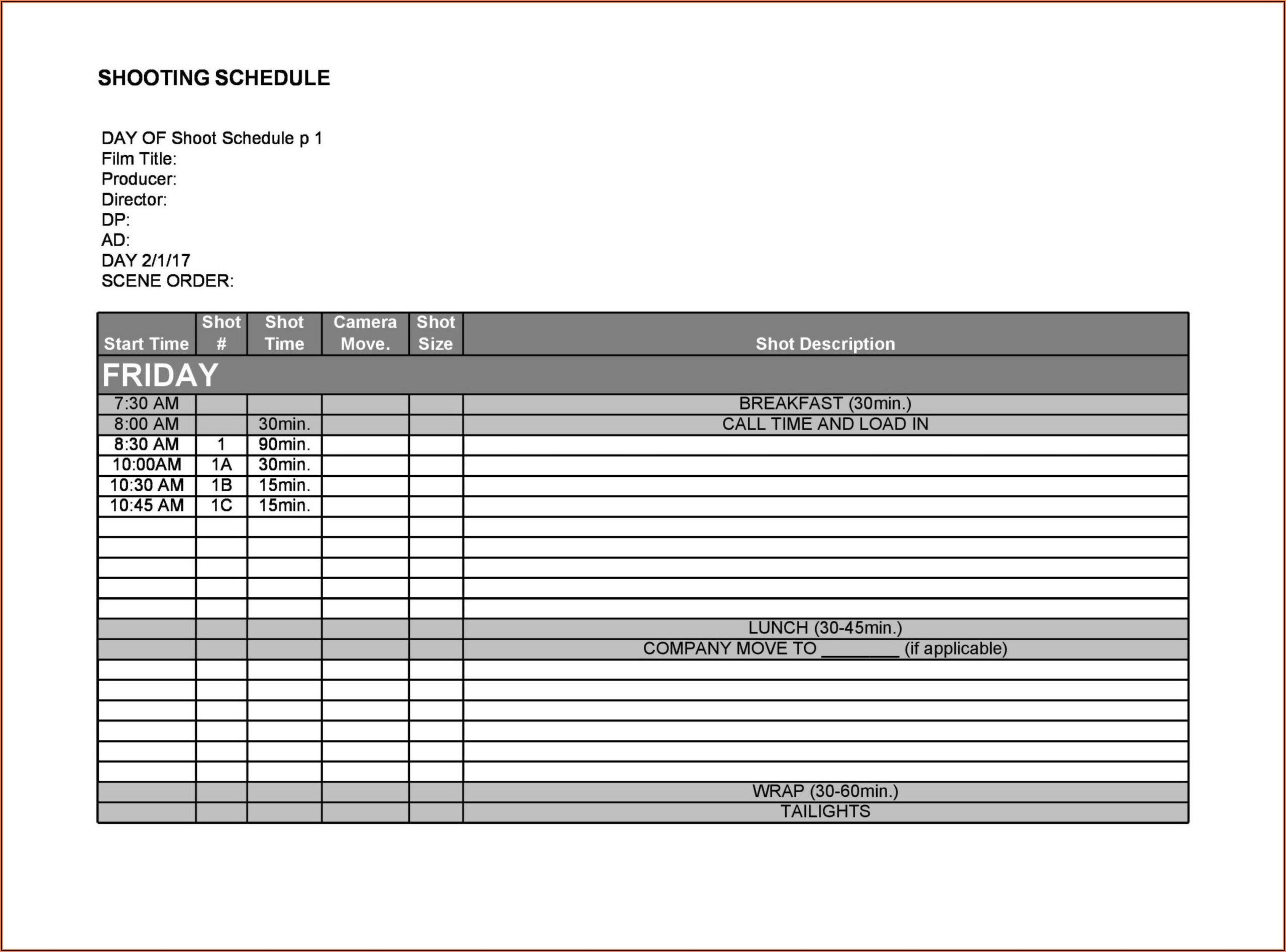 Short Film Production Timeline Template