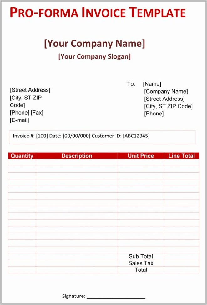 Simple Proforma Invoice Template Doc