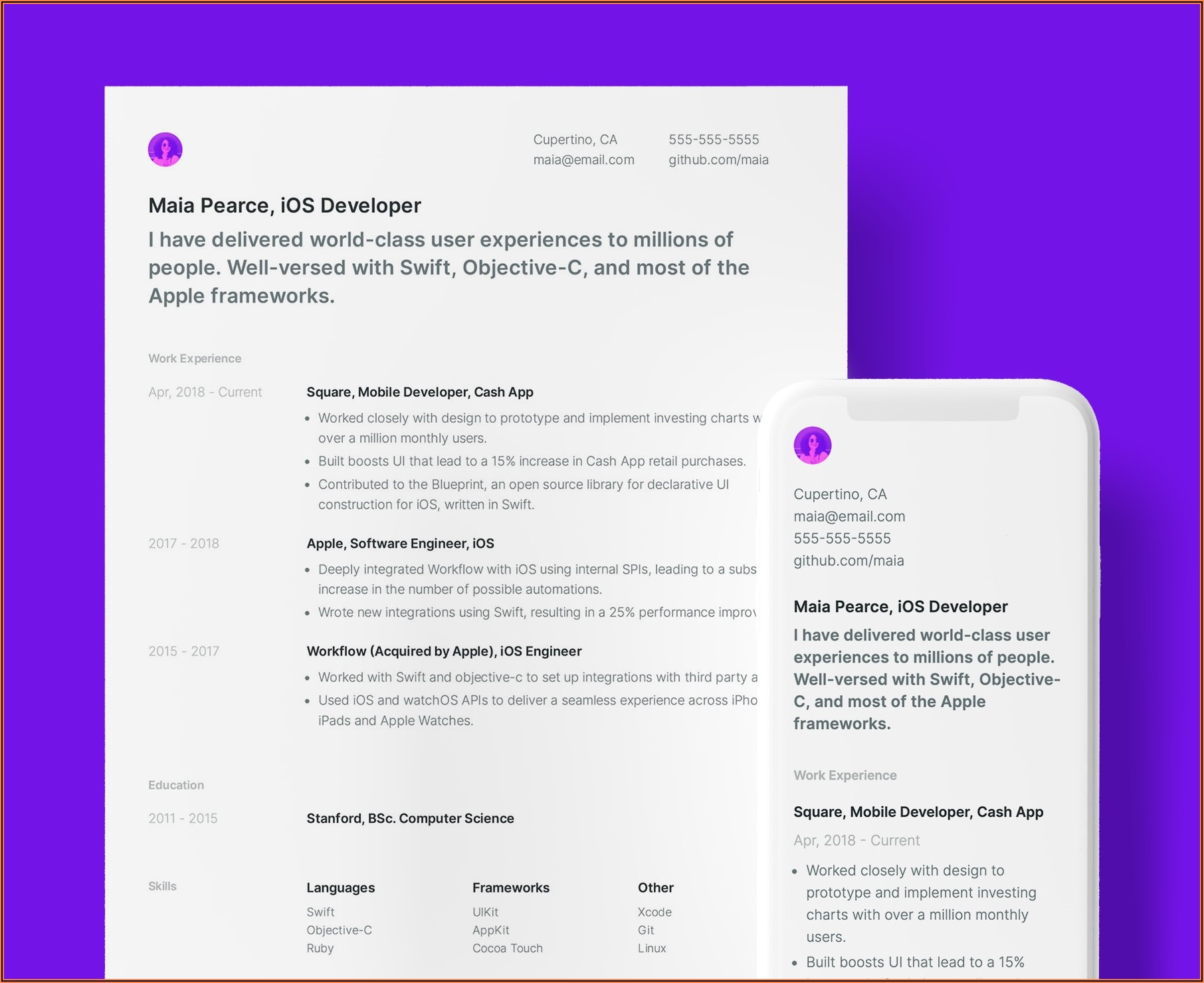 Simple Resume Template Pdf Free Download