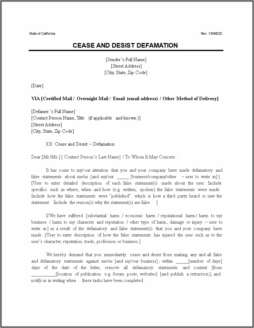 Slander Cease And Desist Letter Example
