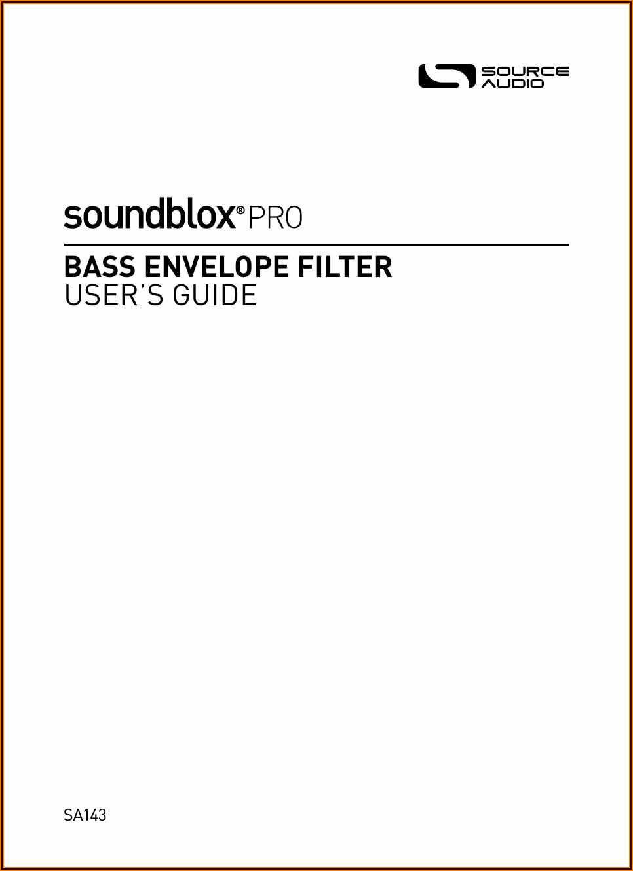 Source Audio Bass Envelope Filter Pro Manual