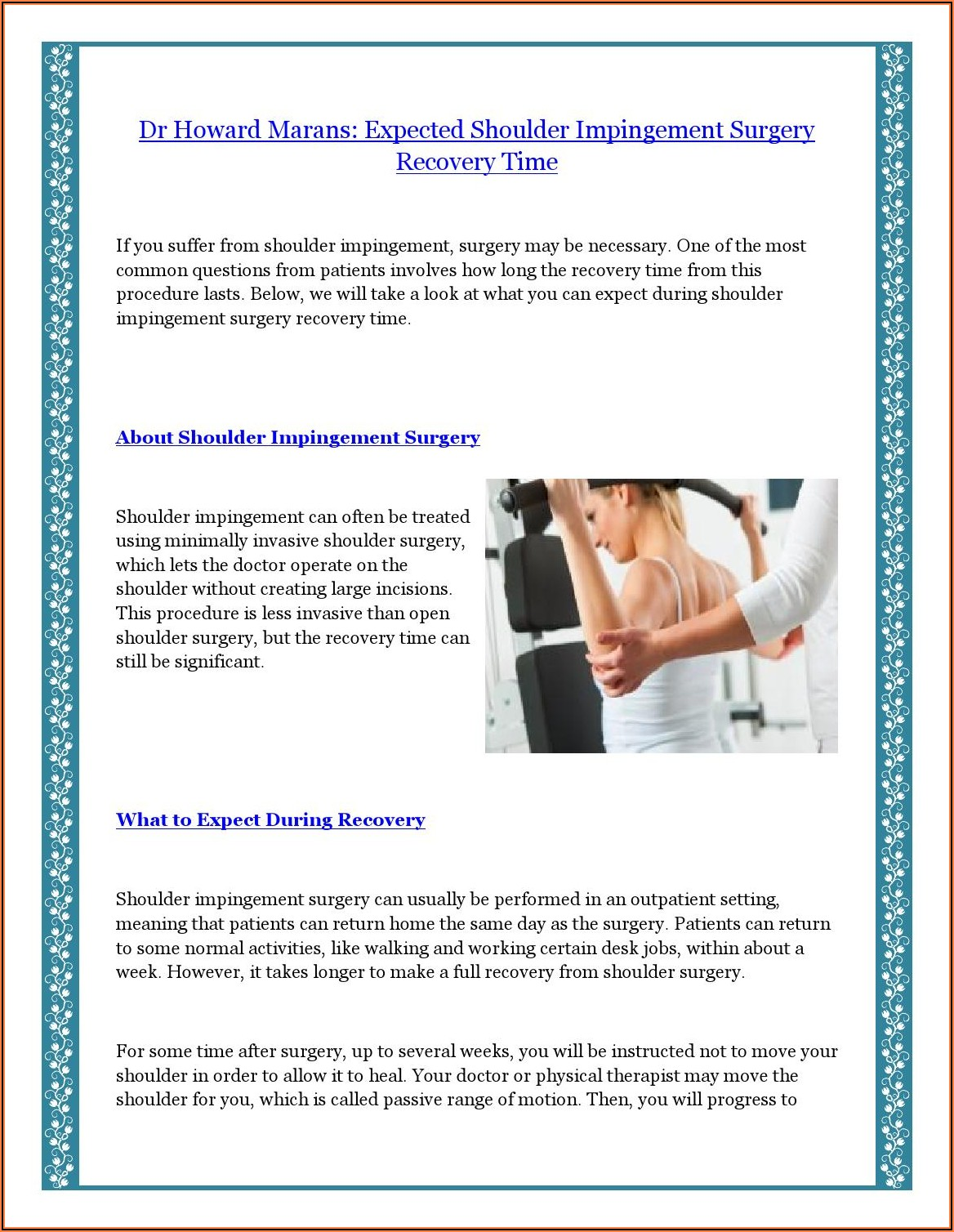 Subacromial Impingement Surgery Recovery Time