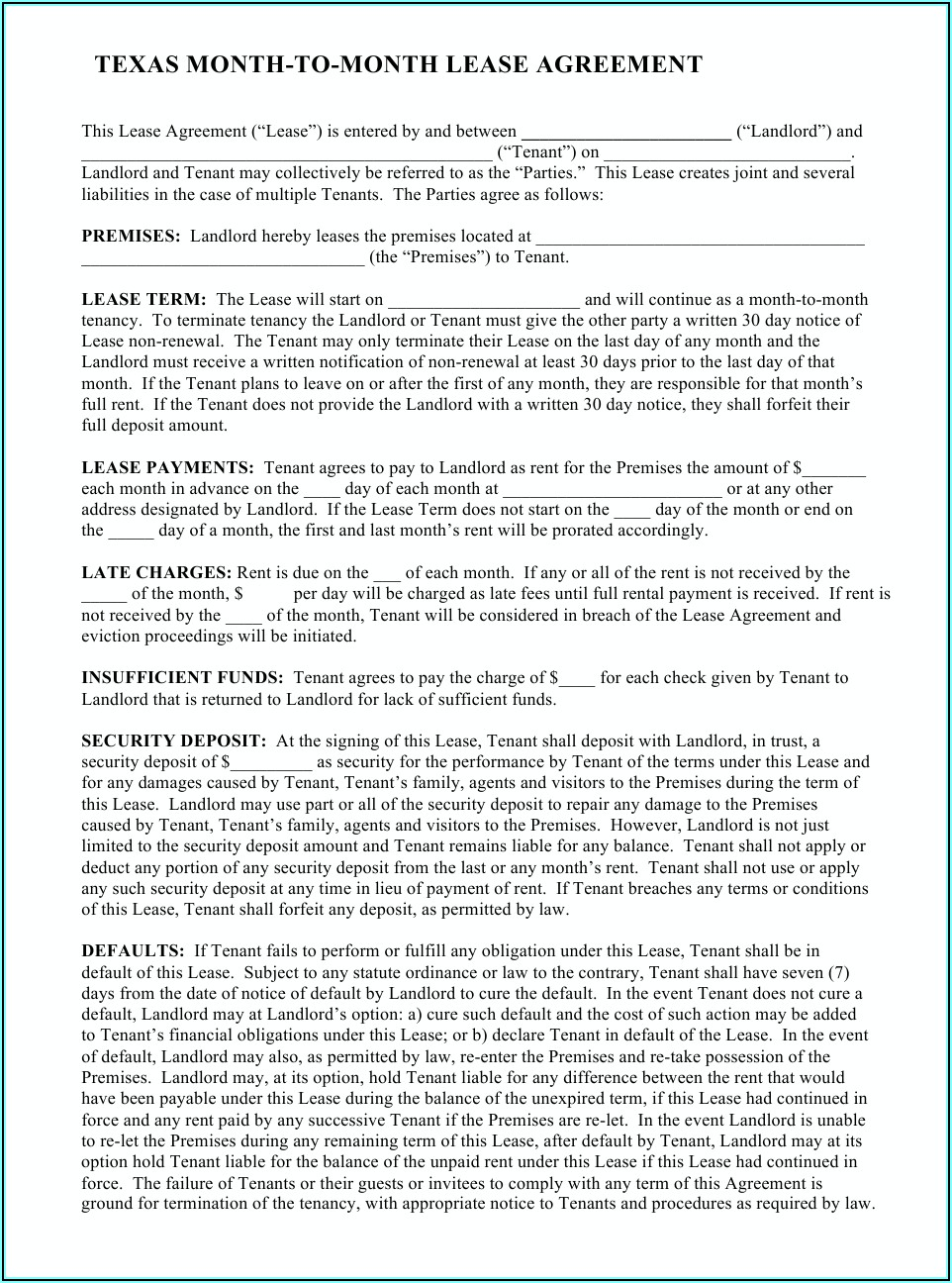 Texas Month To Month Lease Agreement Pdf