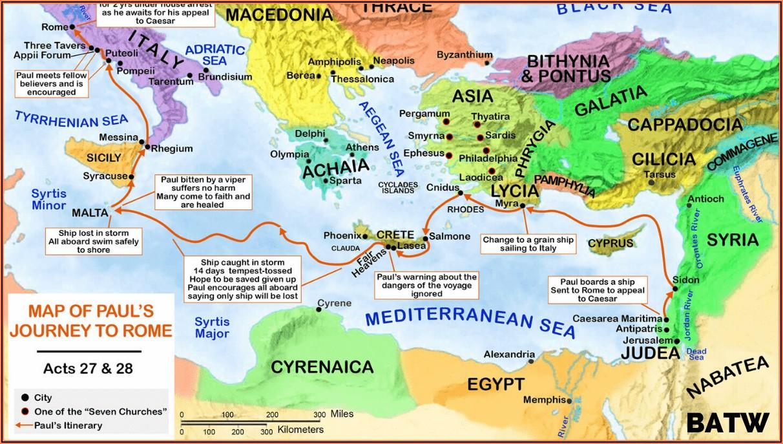 Timeline Of Apostle Paul's Missionary Journeys