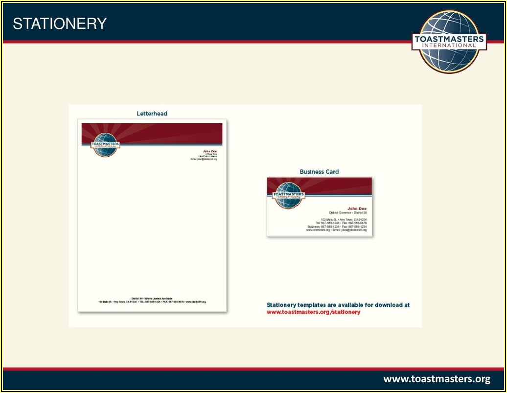 Toastmasters Business Cards Template