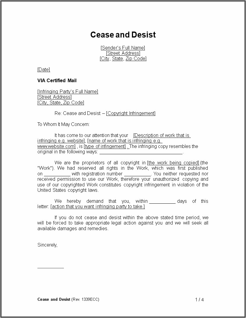 Trademark Infringement Cease And Desist Letter Example