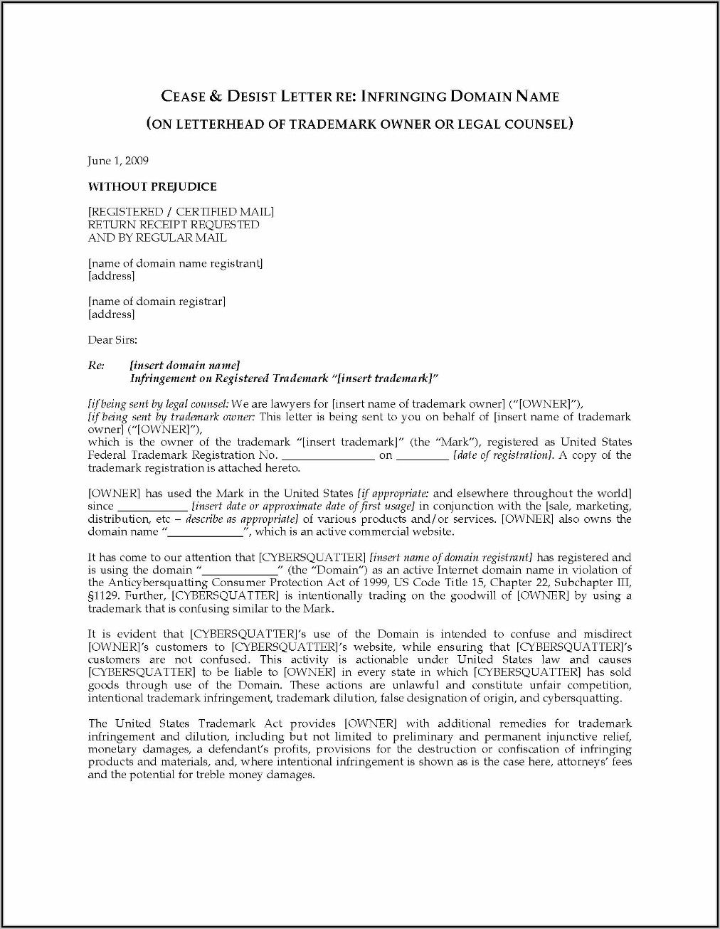 Trademark Infringement Cease And Desist Letter Sample