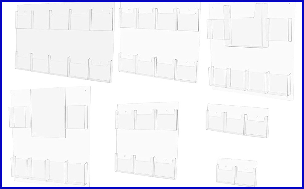 Wall Mount 10 Pocket Acrylic Brochure Holder In Clear