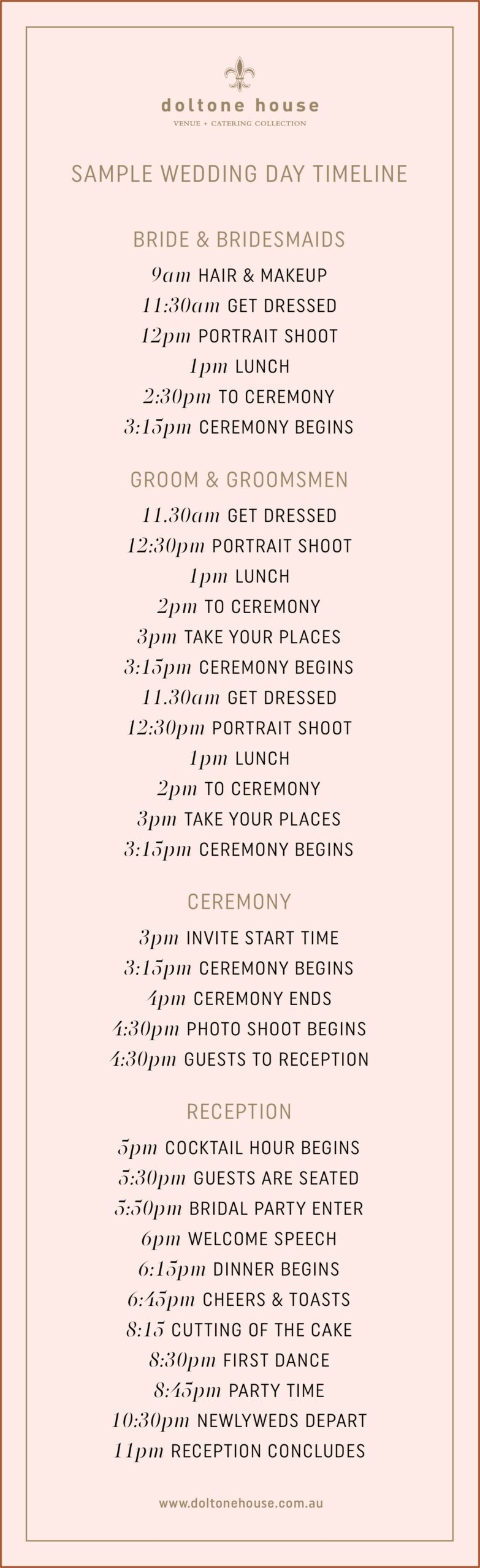 Wedding Day Timeline 3pm Ceremony No First Look