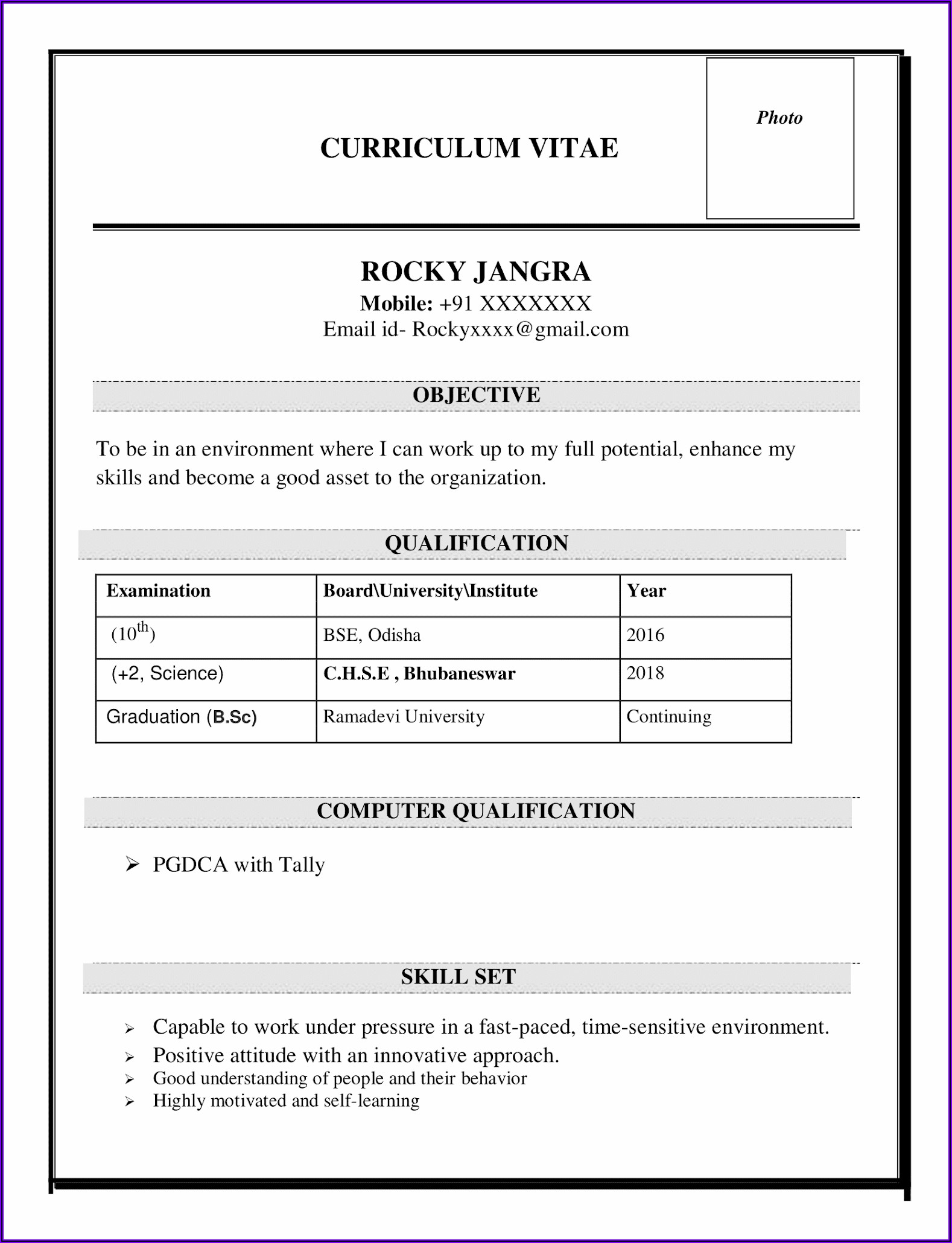 Word Doc Template Resume