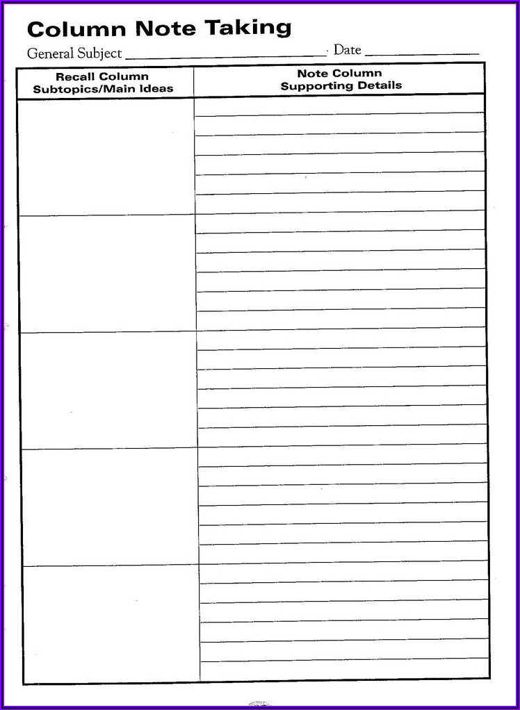Word Document Note Taking Template