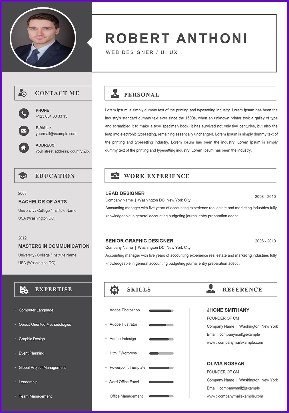 Word Document Professional Cv Template Free
