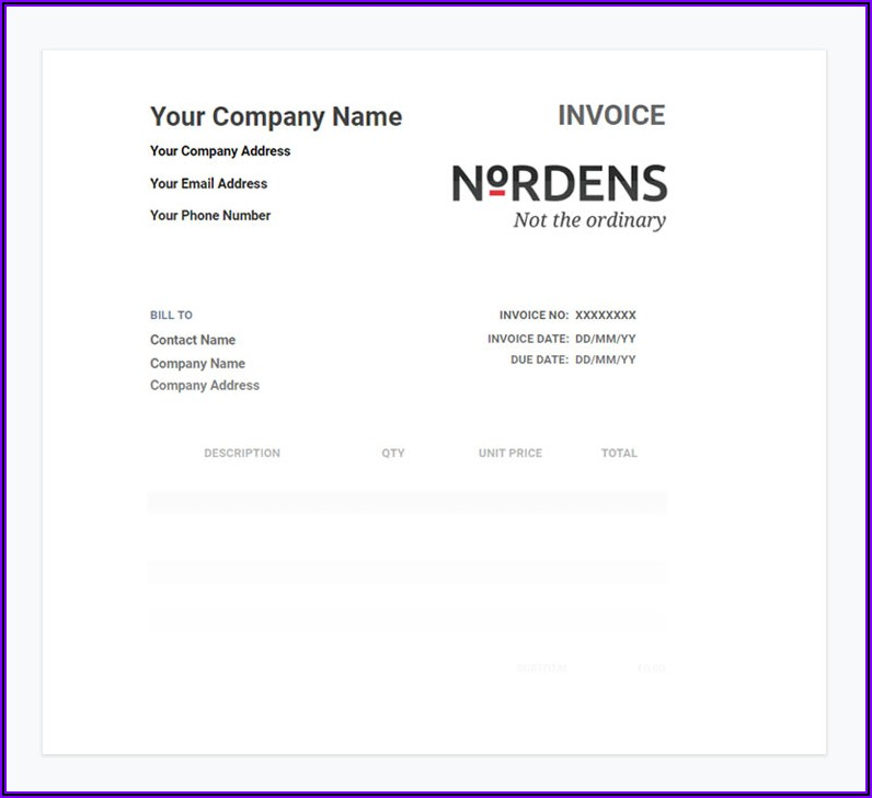 Word Invoice Templates Free Download Uk