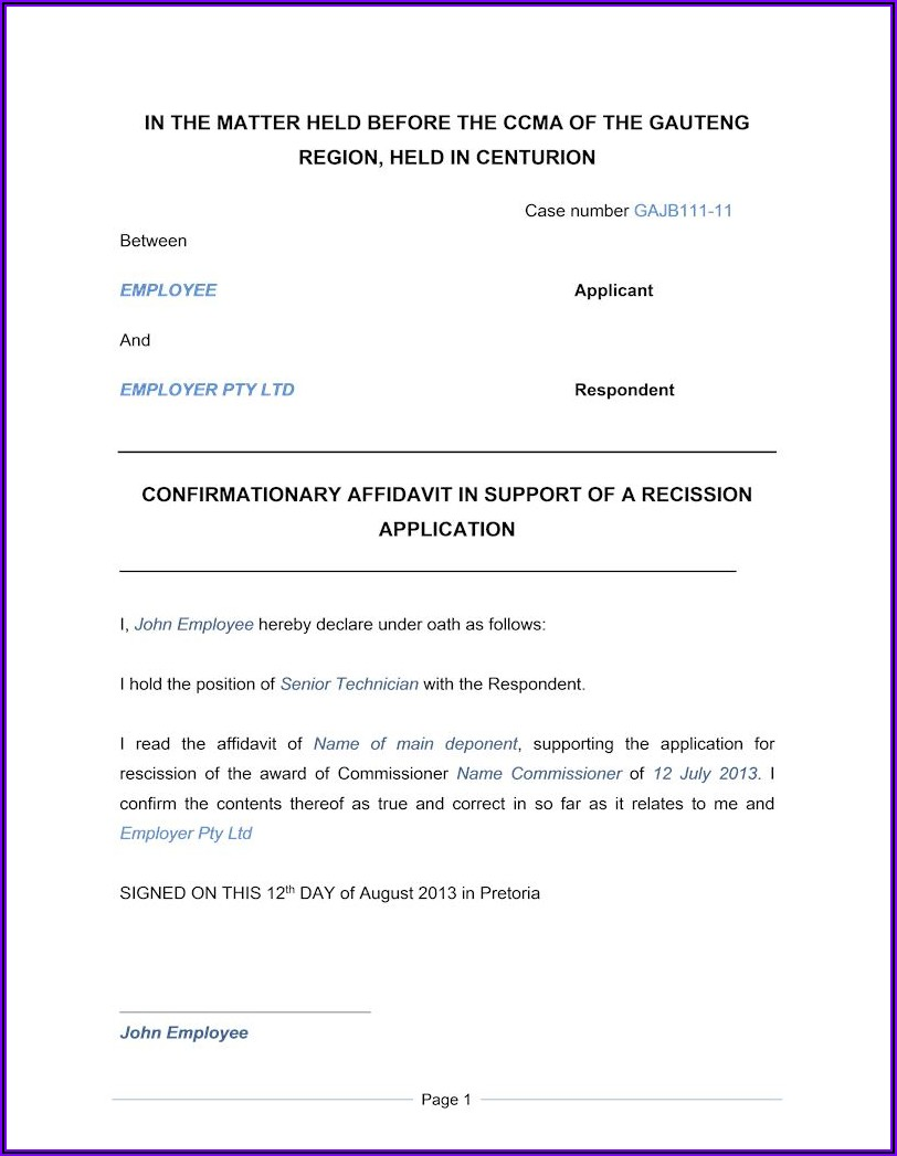 Word Template For Affidavit South Africa
