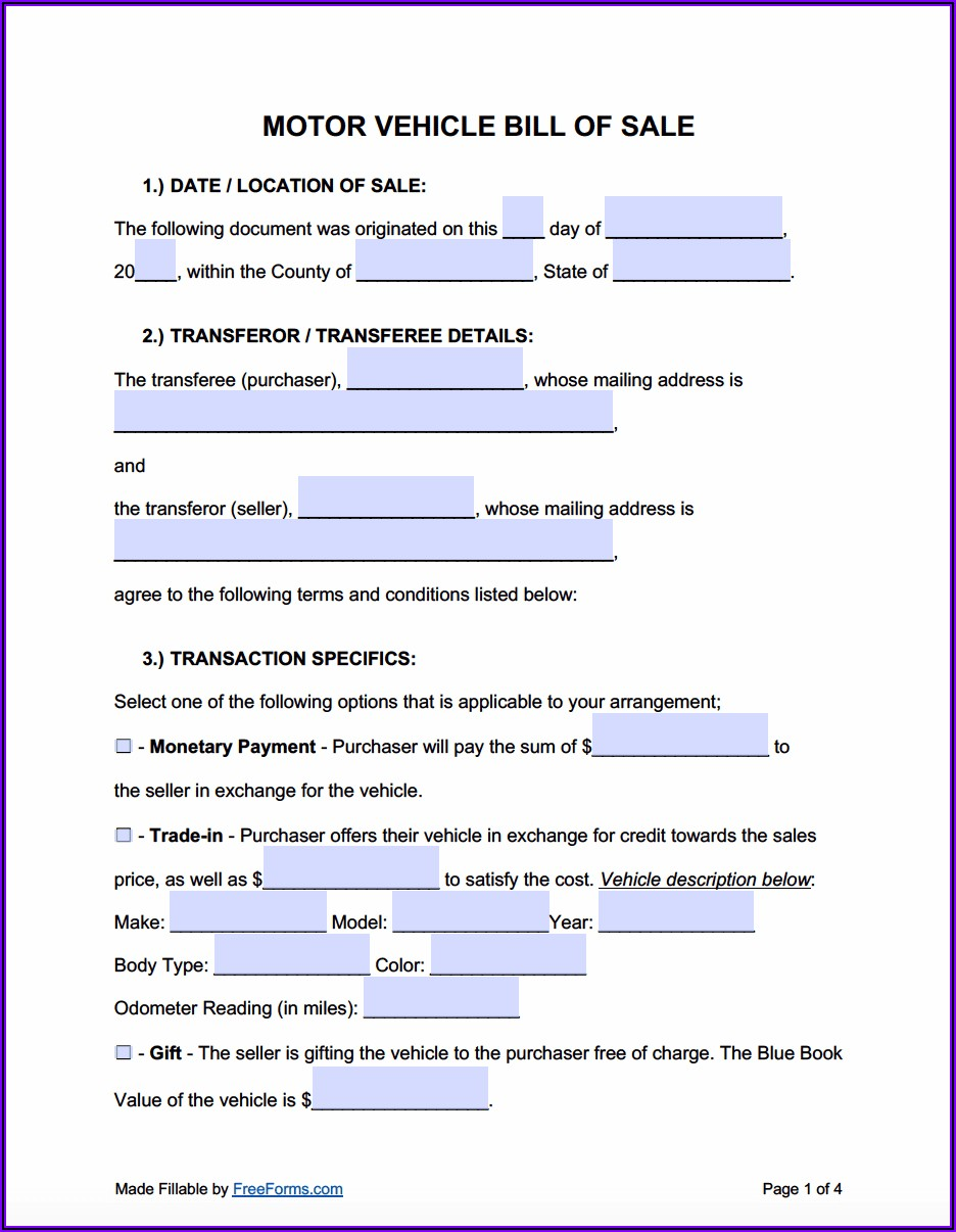 Word Template For Auto Bill Of Sale